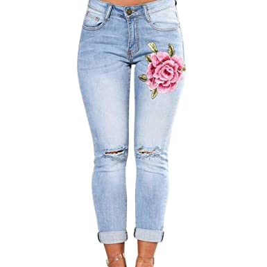 a5ae4e1df81f7 Hattfart Womens Skinny Jeans Butt Lift Hip Denim Pants Flowers Embroidered  Printed Low Rise Jeans (