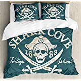 Pirate King Size Duvet Cover Set by Ambesonne, Shark Cove Tortuga Island Caribbean Waters Retro Jolly Roger, Decorative 3 Piece Bedding Set with 2 Pillow Shams, Slate Blue White Light Mustard
