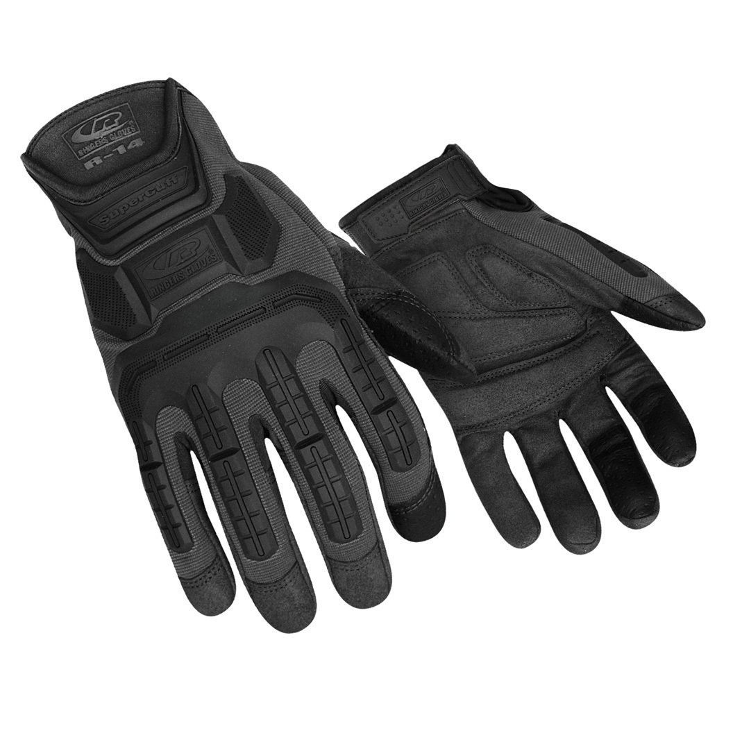 Ringers R-14 Mechanics Gloves, Light Duty Impact Gloves, Cut Proof, Black, Large by Ringers Gloves