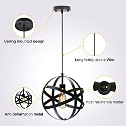 KingSo Industrial Metal Pendant Light, Spherical Ceiling Light ORB Globe Hanging Light Fixture For Kitchen Island Dining Table Bedroom Hallway