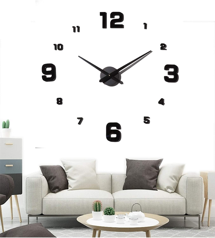 Modern DIY Large Wall Clock 3D Mirror Surface Sticker Home Office Decor Art