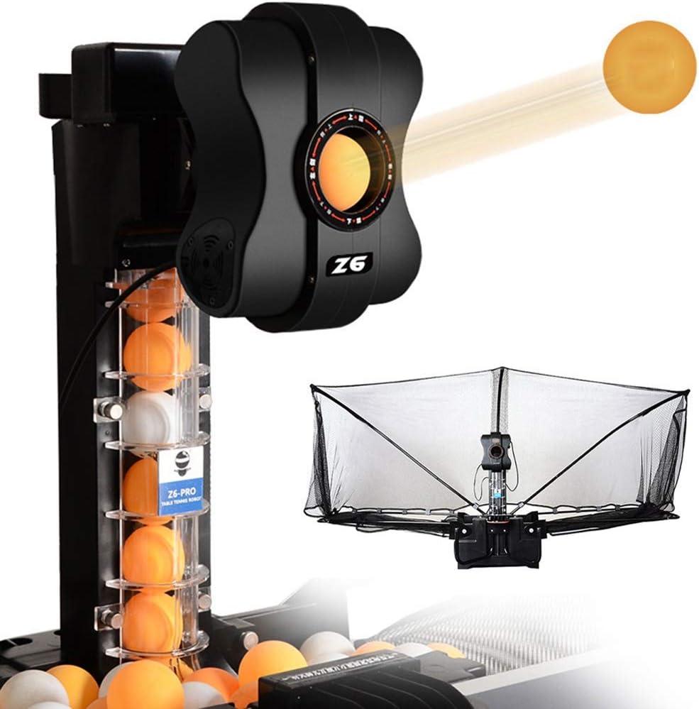 BCX Robot de tenis de mesa con red, máquina de servicio de ping pong con múltiples bolas de giro diferentes y controlador fácil de operar, para mesa de ping pong estándar