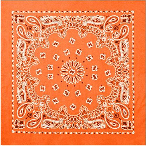 Orange Trainmen Cotton Paisley Biker Sport Bandana 27'' x 27'' by AMYE