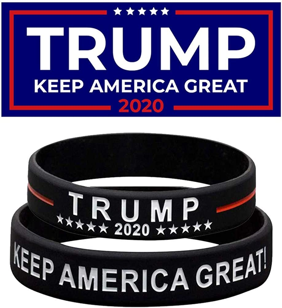 Inspirational Motivational Wristbands Keep America Great Trump Wristbands Silicone Bracelets Unisex Adults Teens Y /& T Insurance Trump 2020 Bracelet 4PCS