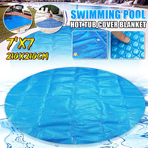 dDanke 7ft Blue Round Swimming Pool Solar Covers Spa Protective Cover - Insulation Energy Saving & Environmental Protection