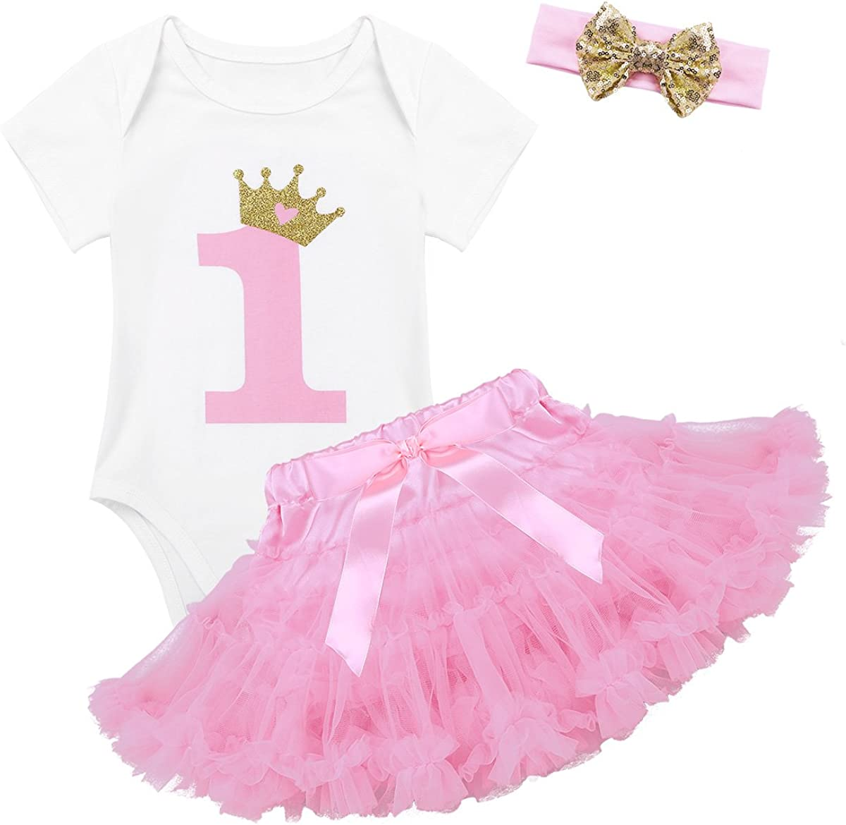 zdhoor Infant Baby Girls 3pcs 1st Birthday Outfits Cake Smash Crown Romper+Tutu Dress+Headband Bodysuit