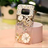 KC Luxury Rhinestones Crystal Diamond Deluxe Handmade Bling Gold Crown Transparent Soft Galaxy S8 Plus Case Back Cover for Girls