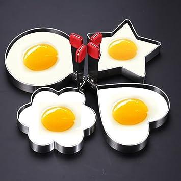 Frito Huevos Anillo molde Pancake anillo regla 304 Acero inoxidable, antiadherente, Redondo, flor, corazón, estrella (Juego de 4) por lovekitchen Store: ...