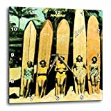 3dRose dpp_46610_1 5 Vintage Ladies in Hawaii with Surf Boards-Wall Clock, 10 by 10-Inch Review