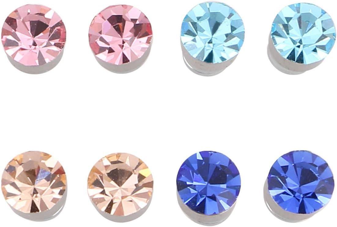 Milisten 8Pcs Pendientes Magnéticos de Acero Inoxidable Imán Nariz Oreja Labio Clip No Piercing en Jjewelry