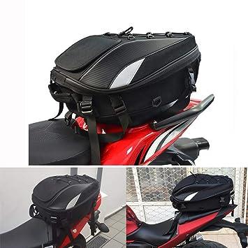 JFG RACING Bolsa para Asiento de Motocicleta/Bolsa de Cola – Mochila de Doble Uso Impermeable para Motocicleta, Bolsa de Almacenamiento para Casco