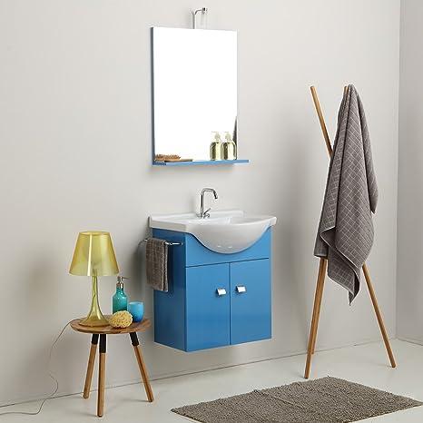 Mobiletti Piccoli Per Bagno.Mobile Bagno Piccoli Spazi Da 58 Cm Lavabo Specchio E Luce In Blu