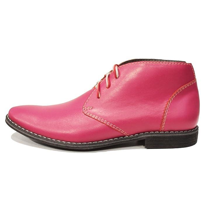 Modello Pinkuero - Cuero Italiano Hecho A Mano Hombre Piel Rosado Chukka Botas Botines - Cuero Cuero Suave - Encaje: Amazon.es: Zapatos y complementos