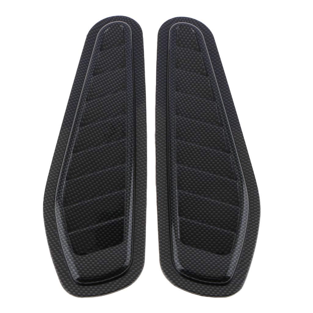 Flameer 2X Car Air Flow Intake Scoop Turbo Bonnet Vent Cover Hood Fender Decorative Black