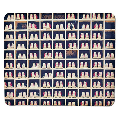 SCOCICI Anti Slip Cloth and Natural Rubber Mouse Pad 3mm Thick Collection of Bowling Shoes in Their Rack Vintage Decorative Mousepad for Home and Office Not Fad Locking Edge