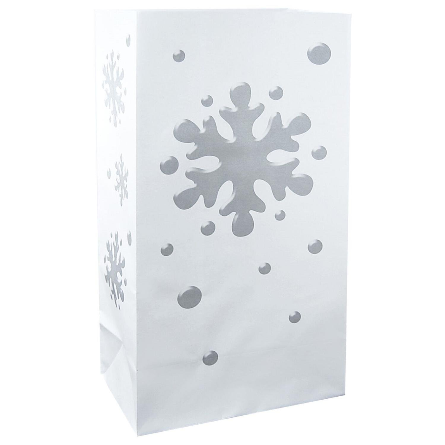 CC Home Furnishings Pack of 100 Traditional White and Silver Winter Snowflake Luminaria Bags 11''