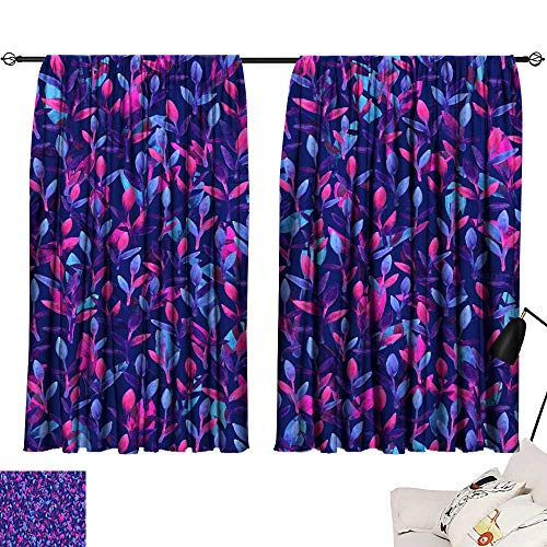 bedroom curtains Simple and cute floral seamless pattern Pink blue and violet spring leaves hand painted with watercolor Nature drawing leaf on blue background Art bright backdrop wallpaper Beautiful