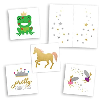 cfddb4c4c3e5f Fairy Tales Variety Set includes 25 assorted premium waterproof colorful  metallic kids temporary foil princess inspired