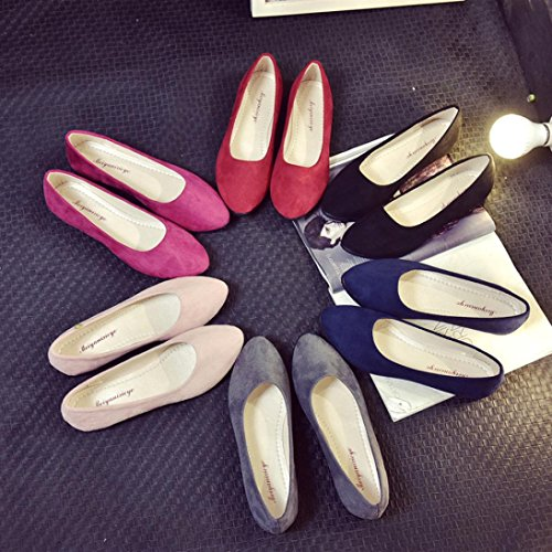 Women Ladies Slip On Flat Shoes Sandals Casual Ballerina Shoes Size Hot Pink LcsnX