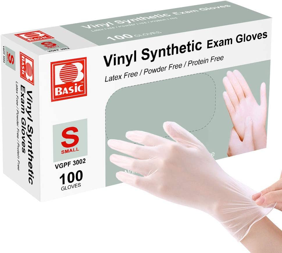 Disposable Gloves, Squish Clear Vinyl Gloves Latex Free Powder-Free Glove Cleaning Health Gloves for Kitchen Cooking Cleaning Food Handling, 100PCS/Box, S,Ship from USA