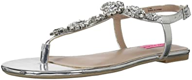 0f2c5716c01 Betsey Johnson Women s Crystal Flat Sandal Silver 6.5 ...