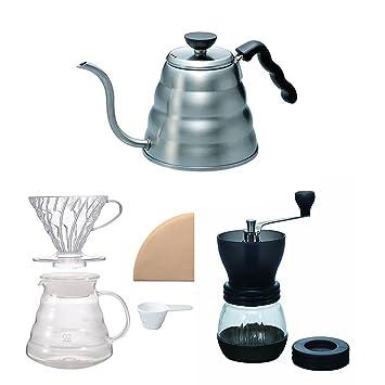 Hario V60 - Juego de hervidor de café, cafetera y molinillo ...