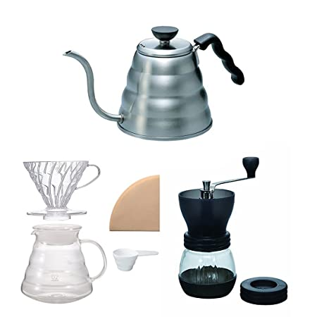 Hario V60 Kettle, Brewer Set Coffee Mill – Three Products All Sold Together