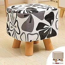 Sino Banyan Feet Stool/Ottomanwith 1 More Cover,Soft Quick Detachable Cushion,Joker Pattern,Big Black Flower