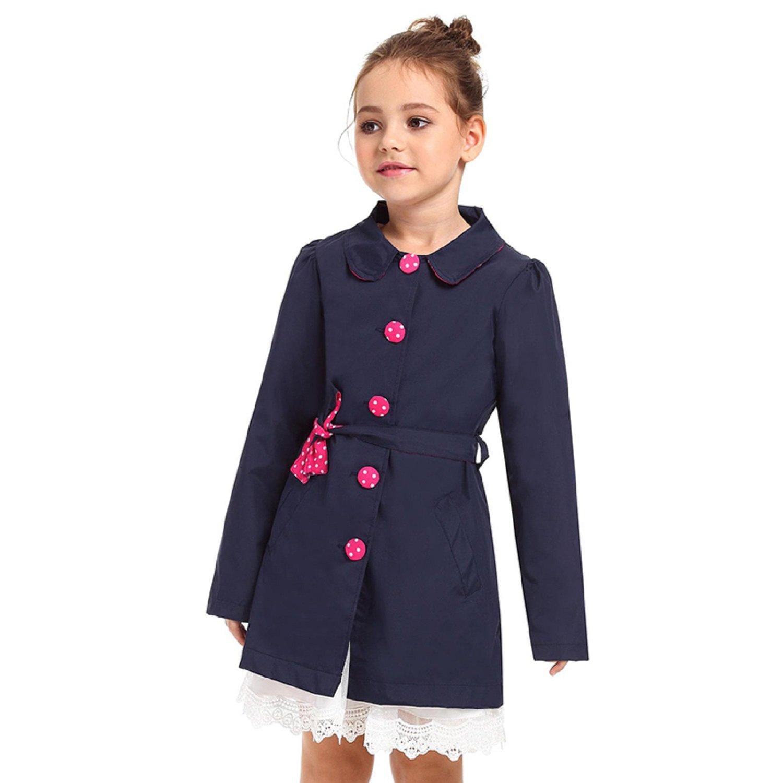 ephex Little Girls' Coat Waterproof Jacket Outwear with Belt for 2-15T