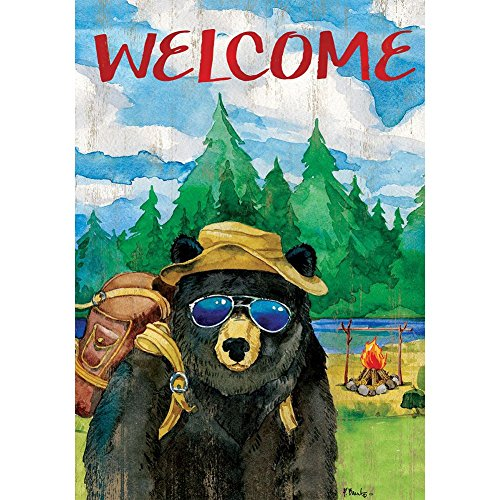 (Custom Decor Bear Camper - Standard Size, Decorative Double Sided, Licensed and Copyrighted Flag - Printed in USA Inc. 28 Inch X 40 Inch Approx.)