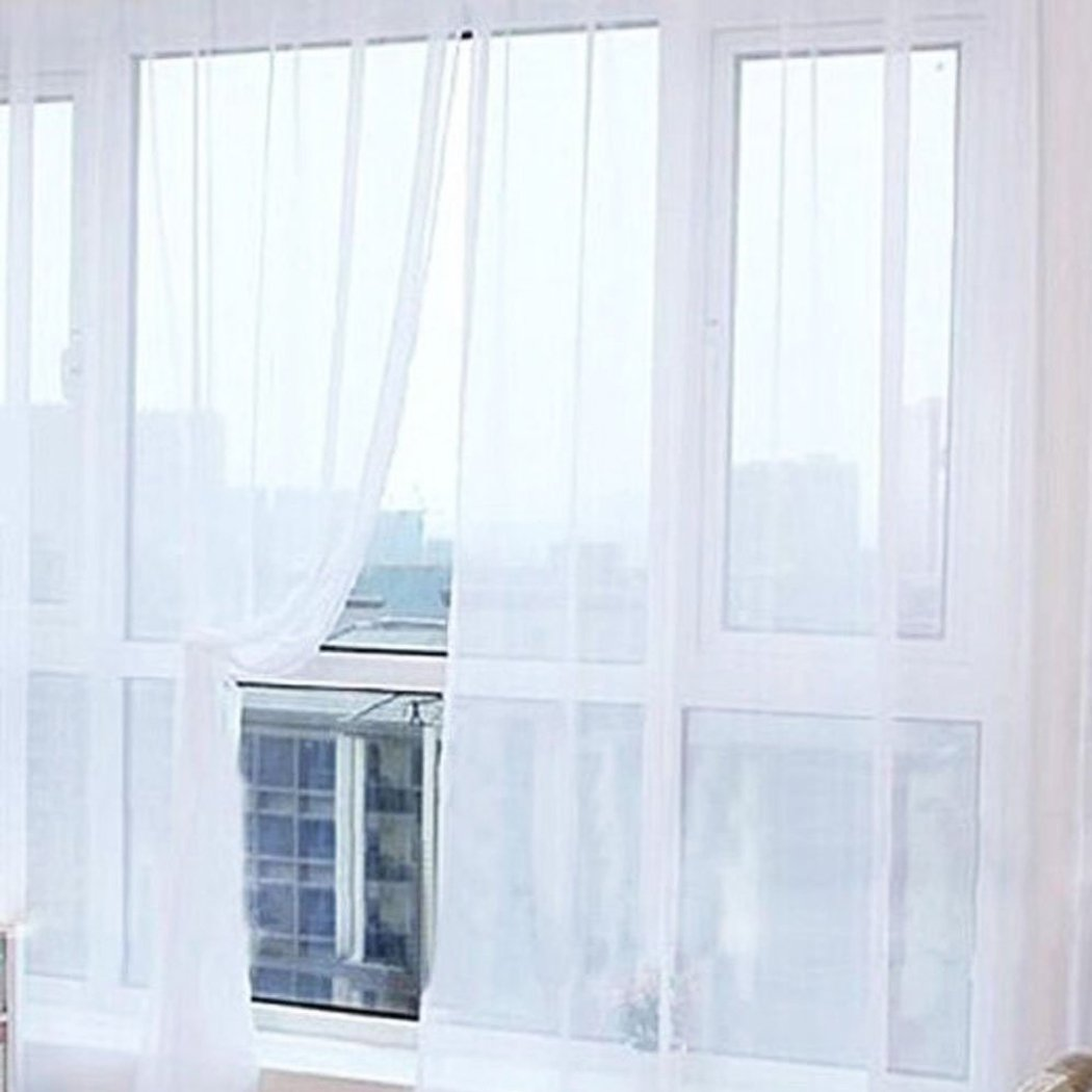 Tulle Voile Curtains Lace Window Curtains Sheer Panels Blackout Curtains for Home Decorations Wedding Party 1 Pair 12 Colors