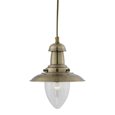 Lámpara de techo de latón envejecido pescador, 5787AB ...