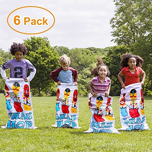 iBaseToy Potato Sack Race Bags Potato Sacks for Races Luau Party Games for Kids Outdoor Games Birthday Party Game (6 Pack, 24