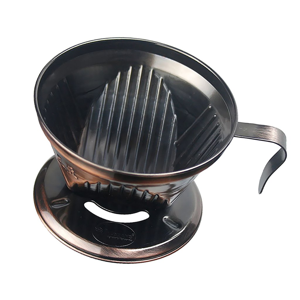 Jili Online 3 Hole Coffee Dripper Holder Reusable Pour Over Filter Cone Drip 2 Colors - Bronze, as described