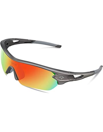 8974d9a1338 TOREGE Polarized Sports Sunglasses with 5(3) Interchangeable Lenes for Men  Women Cycling Running