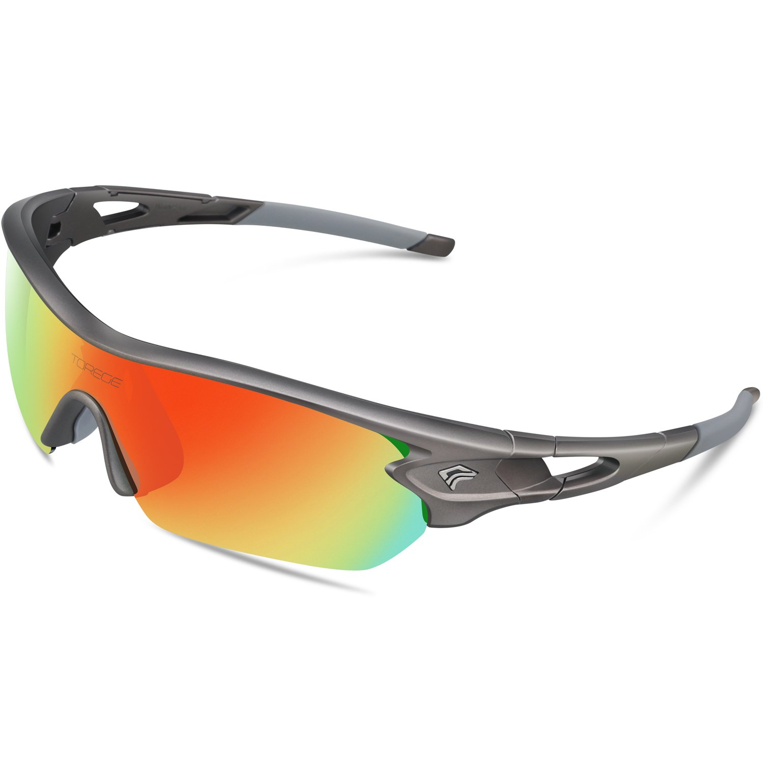 TOREGE Polarized Sports Sunglasses with 5 Interchangeable Lenes for Men Women Cycling Running Driving Fishing Golf Baseball Glasses TR002 (Grey Frame&Rainbow Lens)