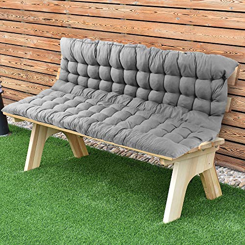 Scorpiuse Soft Bench Cushions with Backrest Non-Slip Bench Pads with Ties Indoor/Outdoor Swing Chair Tatami Floor Loveseat Cushion for Dining, Patio, Camping, Kitchen Benches (39
