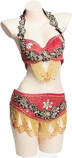 MoLiYanZi Ensemble de Danse du Ventre pour Femme Costume Professionnel Fait Main Strass perlé Danse du Ventre Soutien-Gorge et Ceinture
