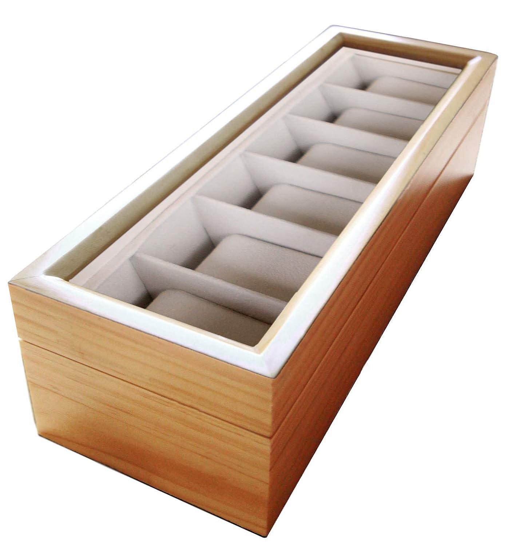 Organizador de relojes de madera maciza con tapa de cristal hecho por Case Elegance