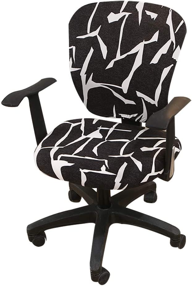 Jinzio Computer Office Chair Cover - Split Protective & Stretchable Cloth Polyester Universal Desk Task Chair Chair Covers Stretch Rotating Chair Slipcover, Dull Black