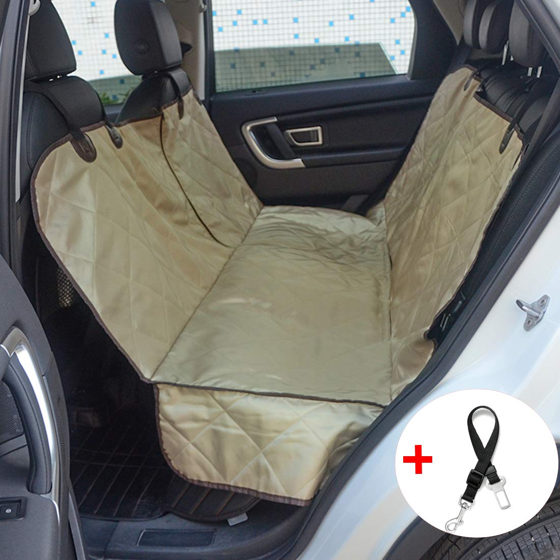 FLR Pet Seat Cover for Car Waterproof Washable Dog Backseat Cover Car Pet Dog Predector Seat Cover with 1 Pcs Pet Seat Safety Belt for Dogs SUV Cars Trucks