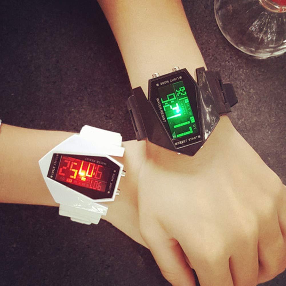 Rocita Correa de Silicona Multifuncional Moda Unisex Estilo Aviones Reloj Blando LED Luminoso Reloj de Pulsera con batería incorporada Blanca: Amazon.es: ...