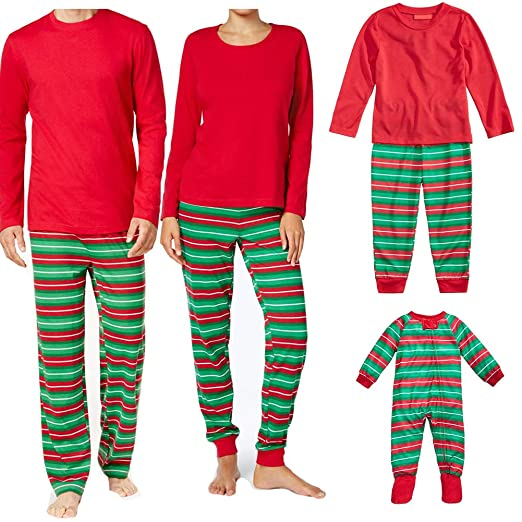 d86e4a0508 Amazon.com  2PCS Christmas Family Matching Pajama Set Mom Dad Daughter Son Red  Shirts Tops Striped Pants Sleepwear  Clothing