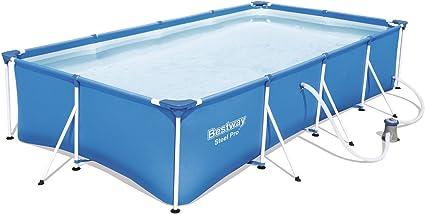 Bestway Steel Pro 56424 - Piscina (Piscina con Anillo Hinchable, Rectangular, 5700 L, Azul, 73 cm, PVC): Amazon.es: Coche y moto
