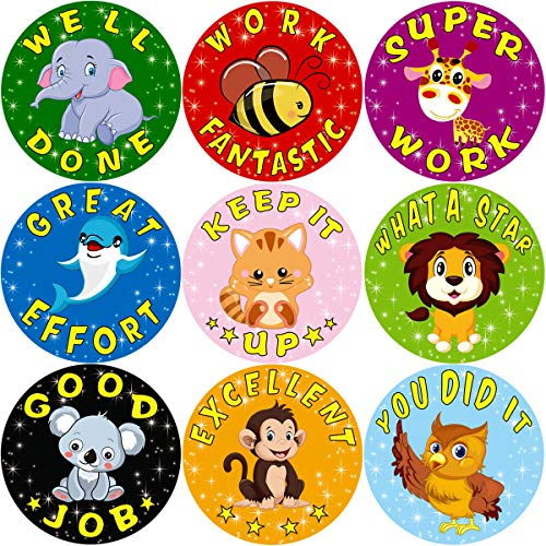 Fancy Land Animal Reward Stickers for Kids 200Pcs Per Roll Sticker for Teacher Classroom]()