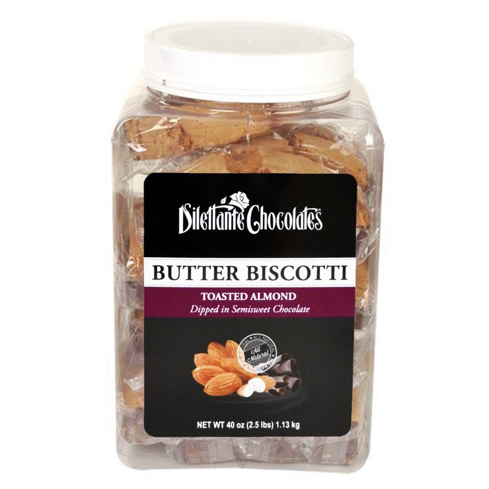 Toasted Almond Biscotti Dipped in Semisweet Chocolate - All Natural, Individually Wrapped - 18 Pieces - by Dilettante