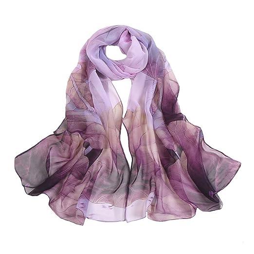 c861c352d Amazon.com: Danse Jupe Ultra-thin Soft Beach Scarf Silk Georgette Scarf  Lotus Print Sunscreen Shawl Gift for Women(Purple): Home & Kitchen