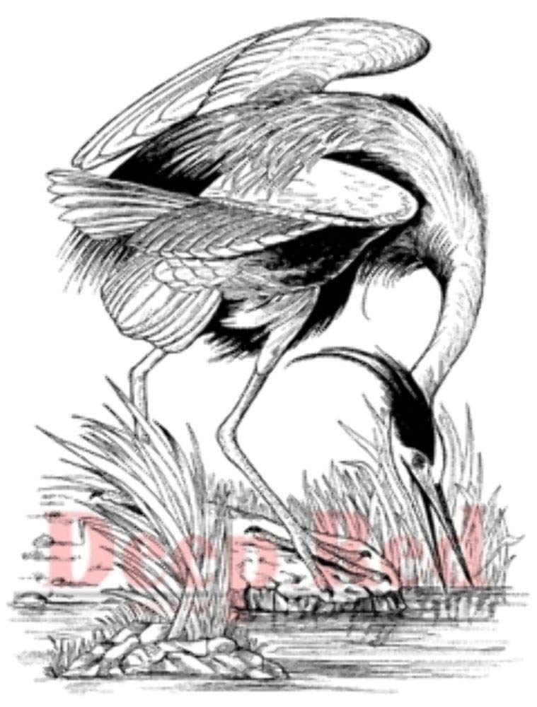 ShopForAllYou Stamping & Embossing Rubber Stamp Great Blue Heron