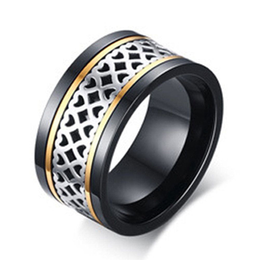 SAINTHERO Men's Wedding Bands Vintage Wide 12MM Black Titanium Steel Hearts Spinner Forever Love Promise Rings for Him High Polish Comfort Fit Size 11