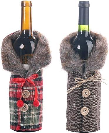 Whiie891203 Bolsas para Botellas de Vino de Navidad, 2 Unidades, diseño de Rayas navideñas, para decoración de Mesa de Navidad: Amazon.es: Hogar